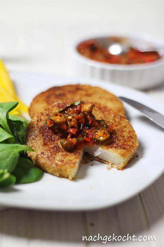 Kohlrabi-Schnitzel mit Okra-Salsa
