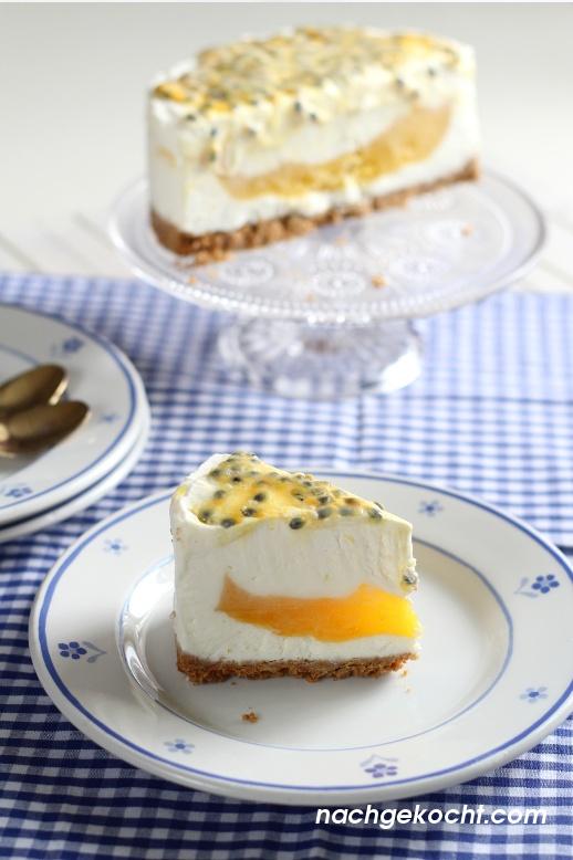 Eistorte mit Mango und Passionsfrucht