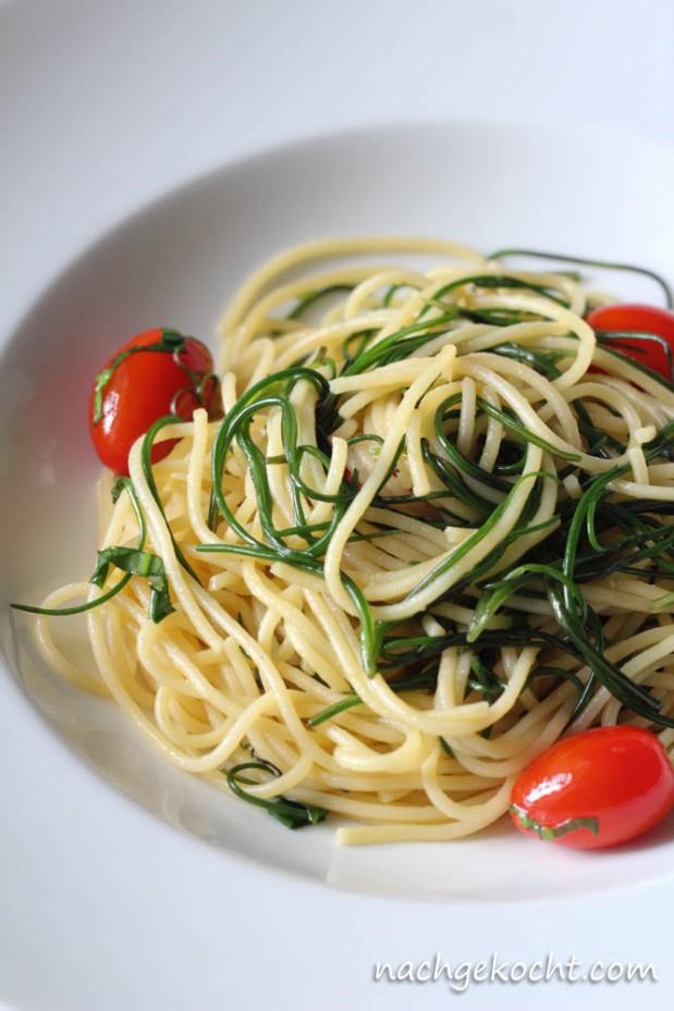 Spaghetti mit Mönchsbart und Tomaten