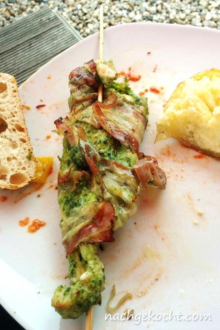 Putenspiesse mit Pesto alla Genovese
